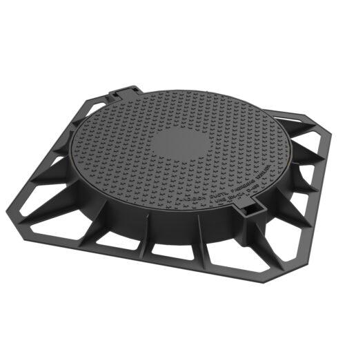 Tapa abatible y marco cuadrado fundicion ductil R-2