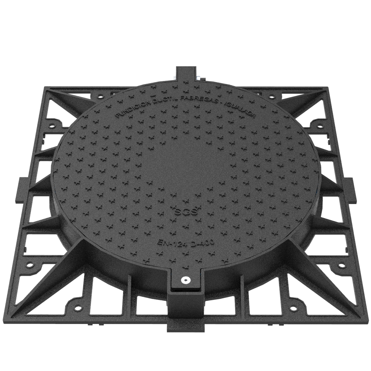 Circular Manhole cover and folding square frame of registry R-2-AR-D400