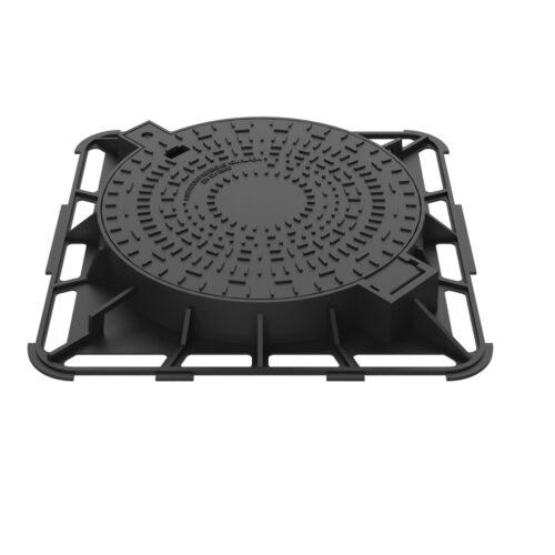 Tapa redonda con marco cuadrado en bisagra R-2-E600