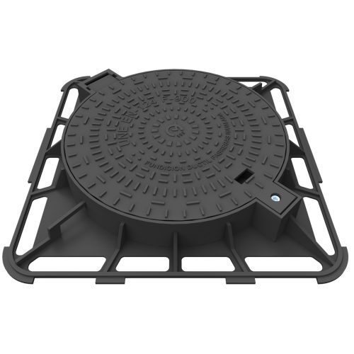 Circular casting Manhole cover with square frame of registry R-2-F900