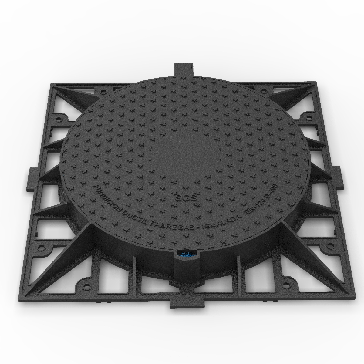 Tapa circular y marco cuadrado de fundicion ductil R-2-MA-D400