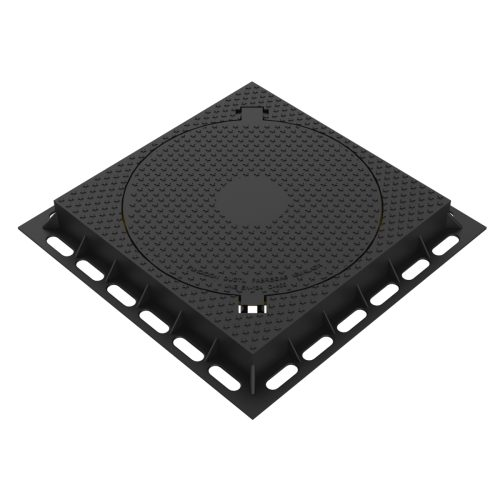 Square aparent Manhole cover and frame, of registry in casting R-3