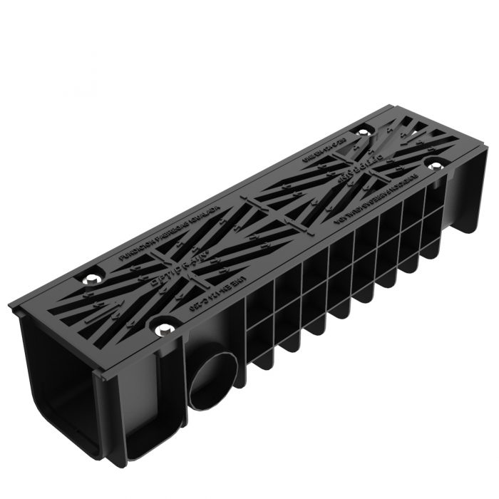 Grate and frame with channel of polypropylene for sections U-200-P