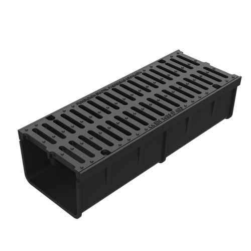 Grate and frame with channel of casting, for sections U-300-F-75