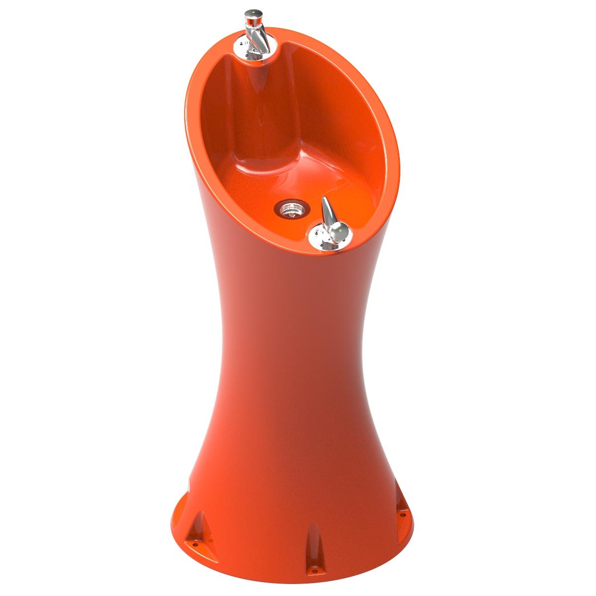 Source Alvium Orange RAL 2004 en polyéthylène de 2 robinets spéciaux pour l'extérieur.