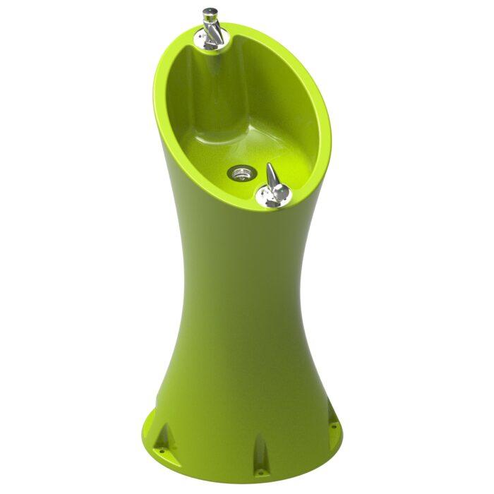 Source Alvium Vert Acide RAL 1026 en polyéthylène de 2 robinets spéciaux pour l'extérieur.