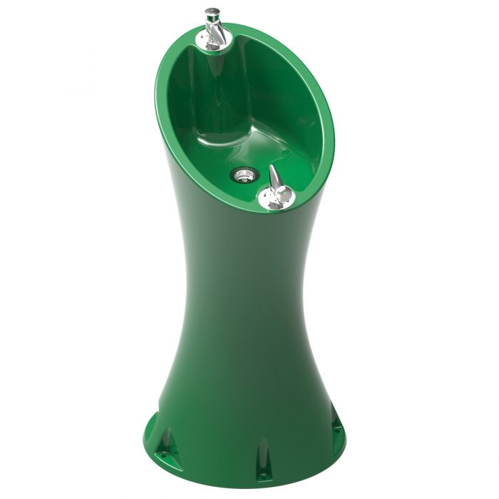 Alvium Fountain Green RAL 6029 in polyethylene of 2 taps special for outdoor.