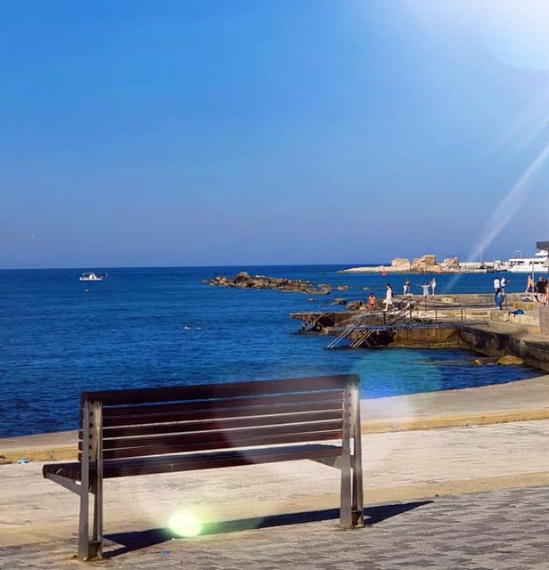 Benches in the port of Paphos, Cyprus