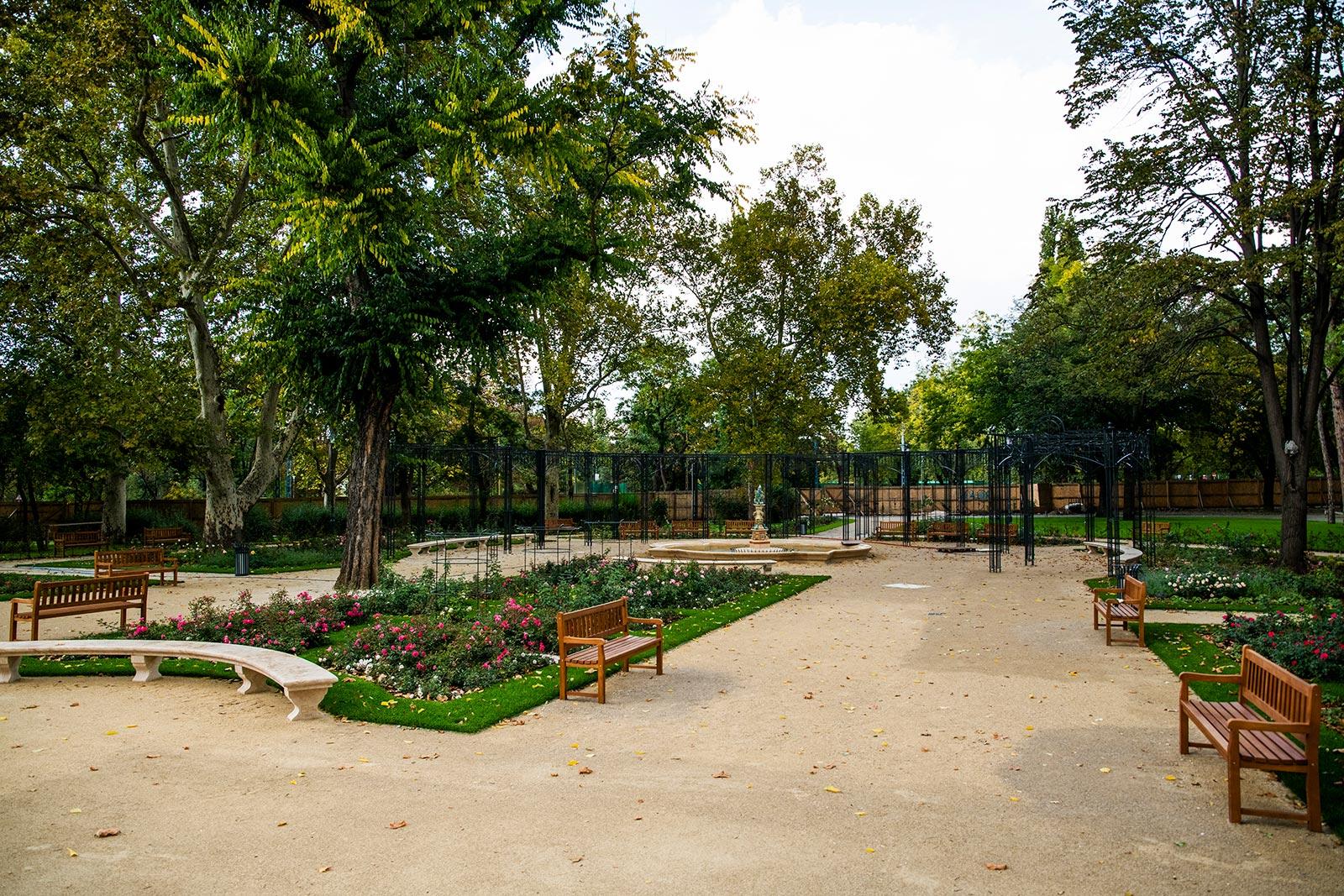 instalación de bancos de madera en parque de Budapest
