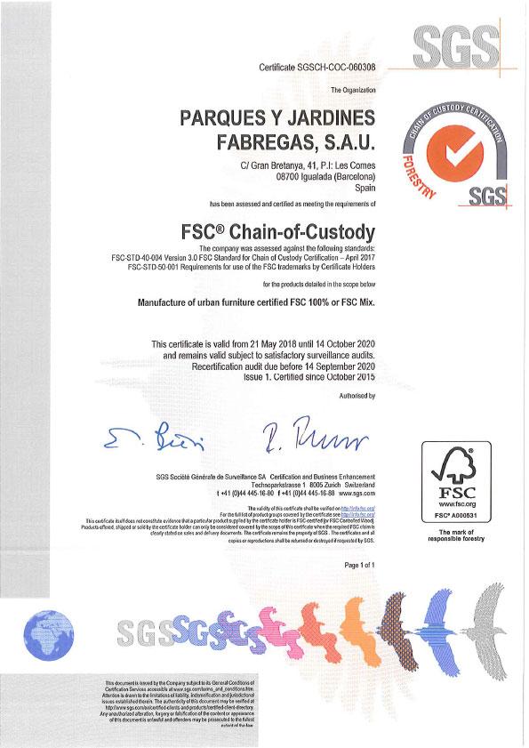 Certificado FSC 2018