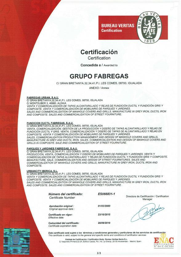 Certificado ISO 9001 Grup Fábregas