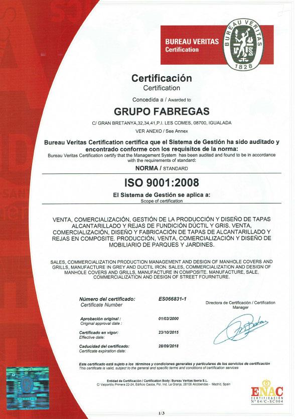 ISO 9001 Grupo Fàbregas