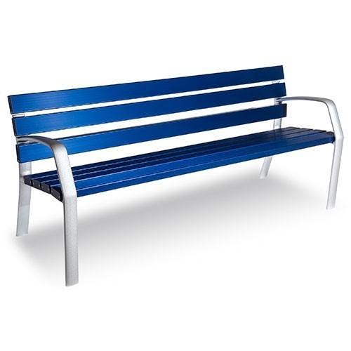 Banco azul de aluminio